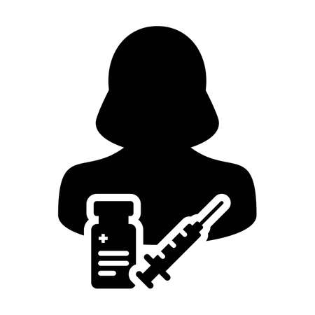 Syringe icon vector with vaccine female user person profile avatar symbol for medical and healthcare treatment in a glyph pictogram illustration