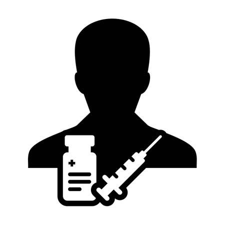 Vaccine icon vector with syringe male user person profile avatar symbol for medical and healthcare treatment in a glyph pictogram illustration Иллюстрация