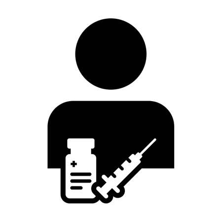 Pharmacist icon vector with vaccine syringe male user person profile avatar symbol for medical and healthcare treatment in a glyph pictogram illustration Иллюстрация