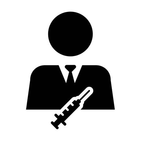 Vaccine icon vector with Injection syringe male user person profile avatar symbol for medical and healthcare treatment in a glyph pictogram illustration