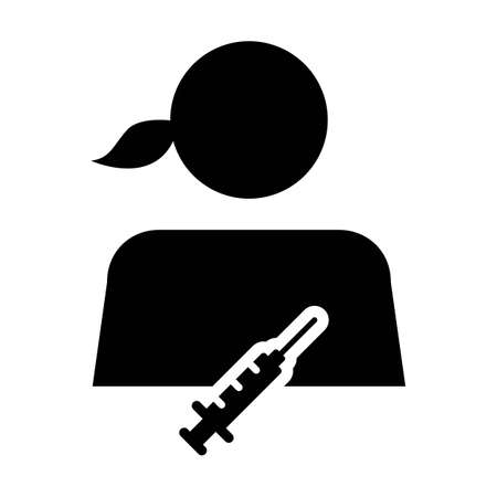 Vaccine icon vector with Injection syringe female user person profile avatar symbol for medical and healthcare treatment in a glyph pictogram illustration