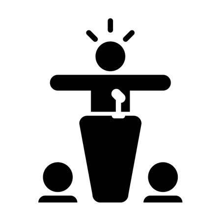 President icon vector person speaking on podium symbol in a flat color pictogram illustration