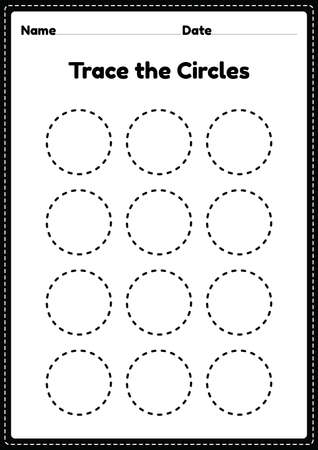 Trace the circle worksheet for kindergarten and preschoolers kids for educational activities in a printable illustration