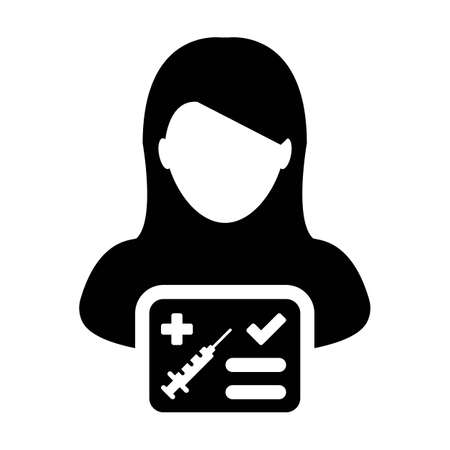 Vaccine report card icon vector with female user person profile avatar symbol for medical and healthcare certificate in a glyph pictogram illustration