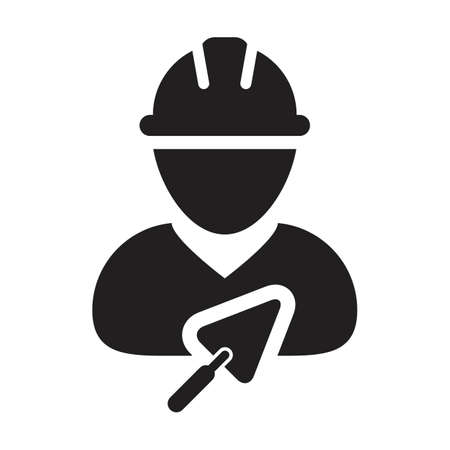 Contractor icon with trowel vector male construction builder worker person profile avatar with hardhat in a glyph pictogram illustration Çizim