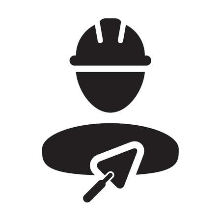 Construction icon with trowel vector male mason contractor worker person profile avatar with hardhat helmet in a glyph pictogram illustration Çizim