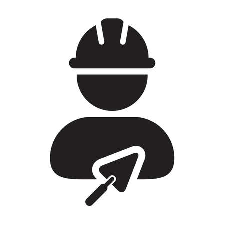 Construction worker icon with trowel vector male contractor person profile avatar with hardhat helmet in a glyph pictogram illustration Çizim