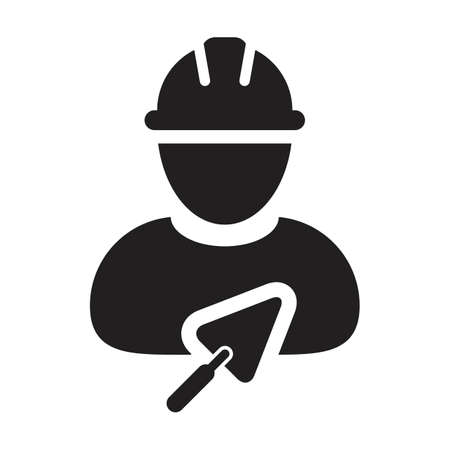 Builder icon with trowel vector male construction mason contractor worker person profile avatar with hardhat in a glyph pictogram illustration
