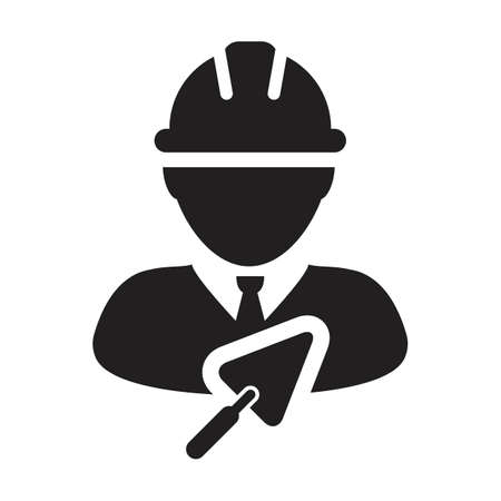 Mason icon with trowel vector male construction contractor worker person profile avatar with hardhat helmet in a glyph pictogram illustration