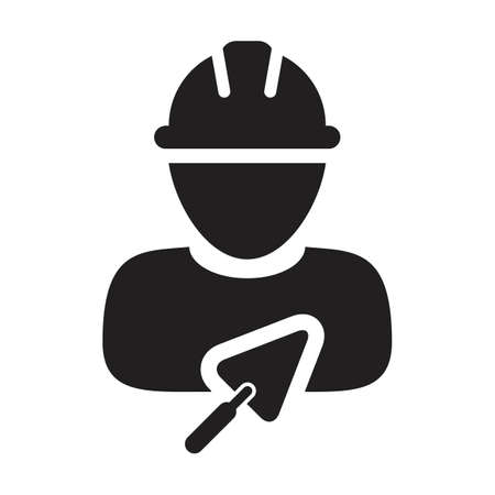 Worker icon with trowel vector male construction builder contractor person profile avatar with hardhat helmet in a glyph pictogram illustration