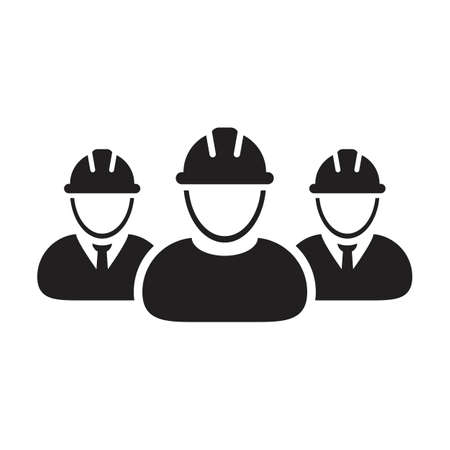 Contractor icon vector group of construction builder people persons profile avatar for team work with hardhat helmet in a glyph pictogram illustration