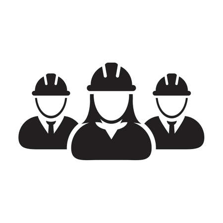 Builder icon vector group of construction contractor people persons profile avatar for team work with hardhat helmet in a glyph pictogram illustration
