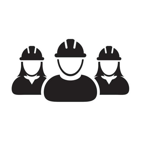 Worker icon vector group of construction contractor people persons profile avatar for team work with hardhat helmet in a glyph pictogram illustration Çizim