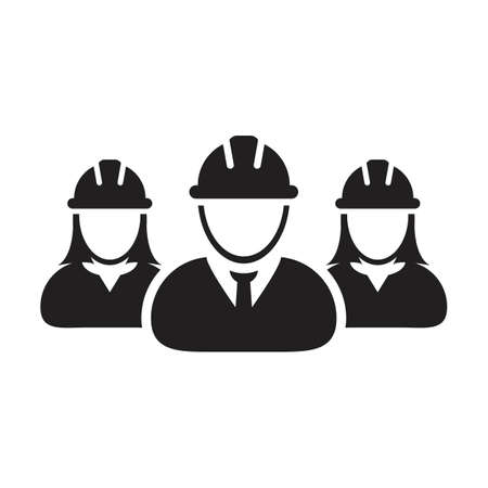 Builders icon vector group of construction worker people persons profile avatar for team work with hardhat helmet in a glyph pictogram illustration