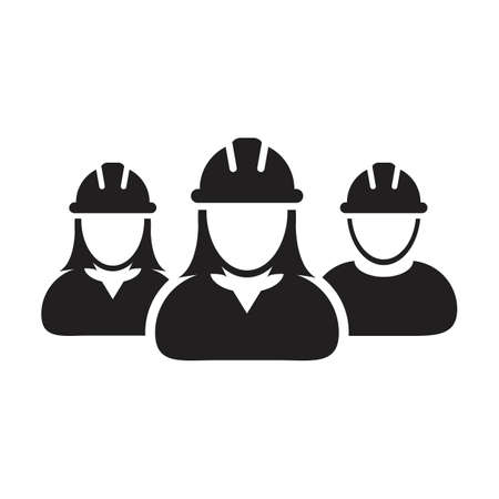 Labors icon vector group of construction worker people persons profile avatar for team work with hardhat helmet in a glyph pictogram illustration