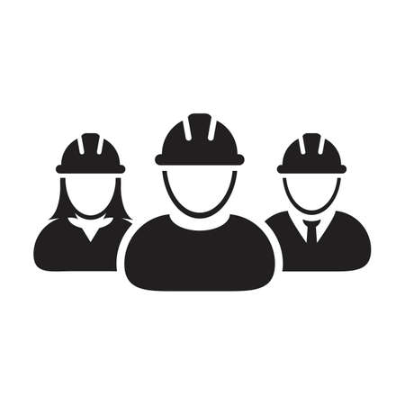 Labor icon vector group of construction builder people persons profile avatar for team work with hardhat helmet in a glyph pictogram illustration