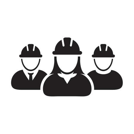 Workers icon vector group of construction builder contractor people persons profile avatar for team work with hardhat helmet in a glyph pictogram illustration