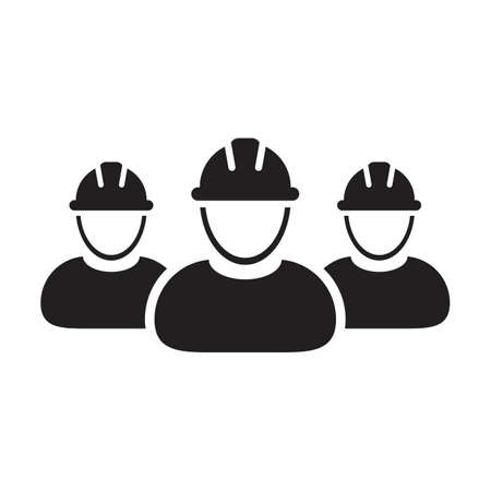 Construction workers icon vector group of builder contractor people persons profile avatar for team work with hardhat helmet in a glyph pictogram illustration