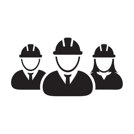 Contractor workers icon vector group of construction worker people persons profile avatar for team work with hardhat helmet in a glyph pictogram illustration Çizim