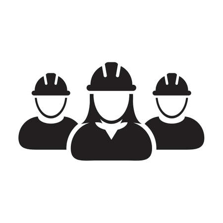 Contractor worker icon vector group of construction builder people persons profile avatar for team work with hardhat helmet in a glyph pictogram illustration Çizim