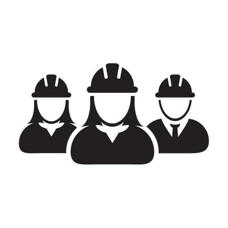 Contractor worker icon vector group of construction builder people persons profile avatar for team work with hardhat helmet in a glyph pictogram illustratio