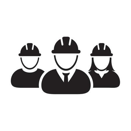 Factory worker icon vector group of construction builder people persons profile avatar for team work with hardhat helmet in a glyph pictogram illustration Çizim