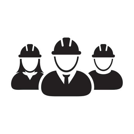 Construction worker icon vector group of contractor people persons profile avatar for team work with hardhat helmet in a glyph pictogram illustration