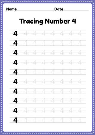 Tracing number 4 worksheet for kindergarten and preschool kids for educational handwriting practice in a printable page.