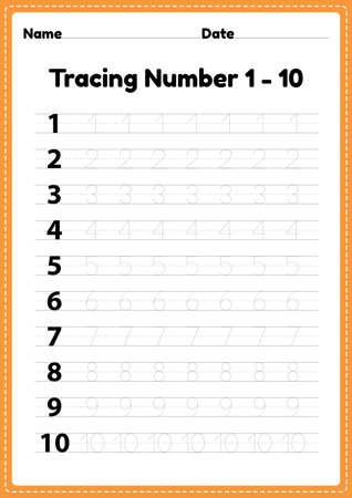 Tracing number 1-10 worksheet for kindergarten and preschool kids for educational handwriting practice in a printable page. Çizim