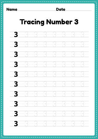 Tracing number 3 worksheet for kindergarten and preschool kids for educational handwriting practice in a printable page. Çizim