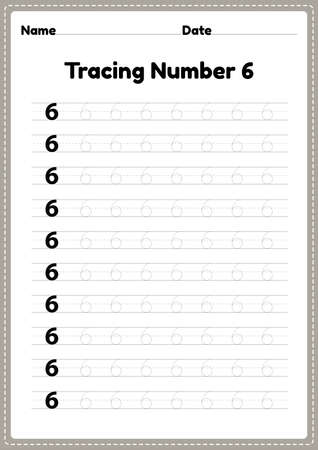 Tracing number 6 worksheet for kindergarten and preschool kids for educational handwriting practice in a printable page.