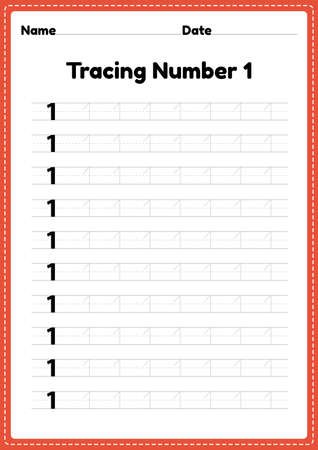 Tracing number 1 worksheet for kindergarten and preschool kids for educational handwriting practice in a printable page.