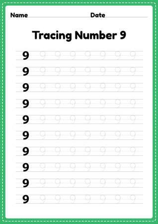 Tracing number 9 worksheet for kindergarten and preschool kids for educational handwriting practice in a printable page. Çizim