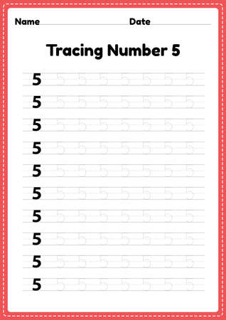 Tracing number 5 worksheet for kindergarten and preschool kids for educational handwriting practice in a printable page.
