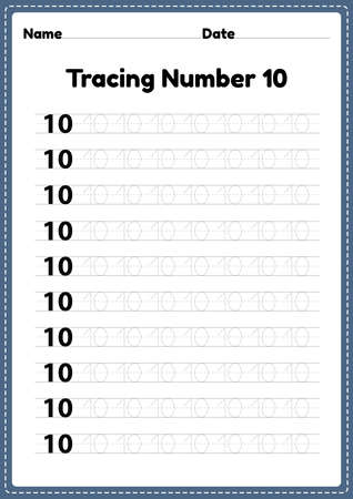 Tracing number 10 worksheet for kindergarten and preschool kids for educational handwriting practice in a printable page.