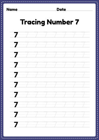 Tracing number 7 worksheet for kindergarten and preschool kids for educational handwriting practice in a printable page.