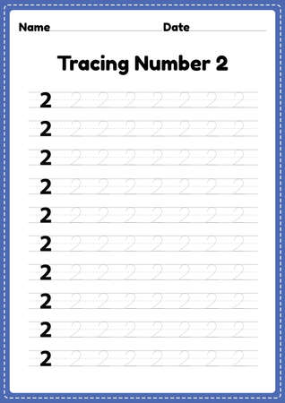 Tracing number 2 worksheet for kindergarten and preschool kids for educational handwriting practice in a printable page.