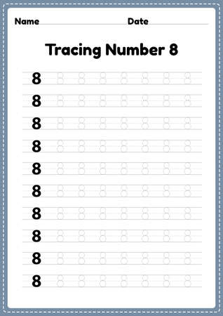 Tracing number 8 worksheet for kindergarten and preschool kids for educational handwriting practice in a printable page.