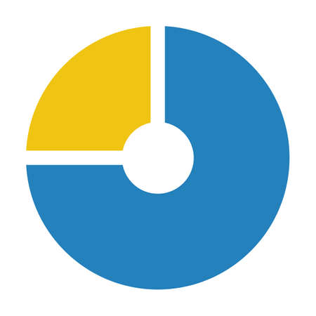 Pie chart icon vector graph diagram symbol for big data analytics reports and statistics information in a flat color illustration