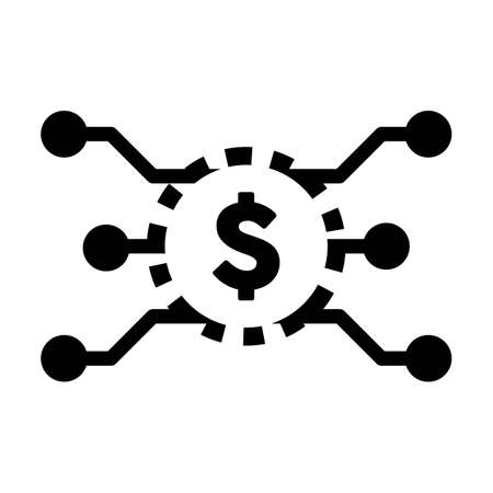 Digital dollar coin icon vector currency symbol for digital transactions for asset and wallet in a flat color glyph pictogram illustration