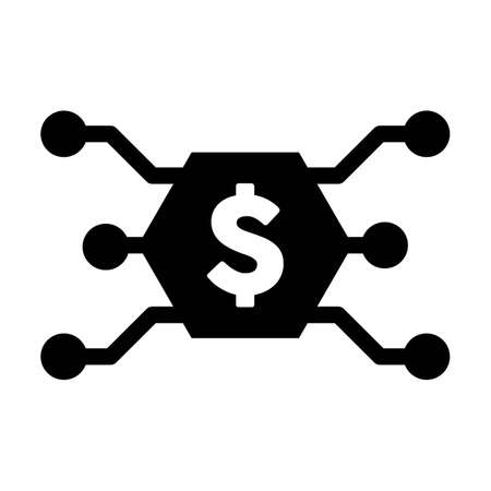 Digital dollar money icon vector currency symbol for digital transactions for asset and wallet in a flat color glyph pictogram illustration