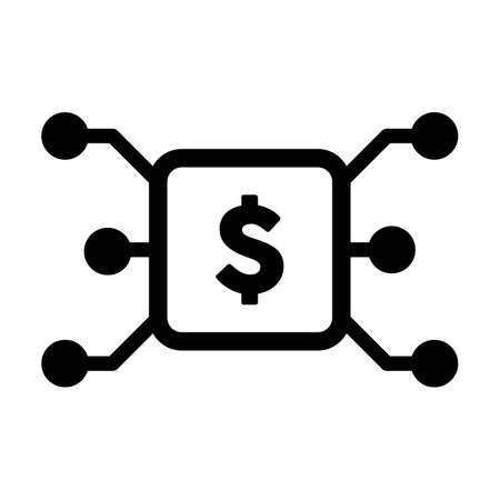 Digital dollar icon vector currency symbol for digital transactions for asset and wallet in a flat color glyph pictogram illustration Çizim