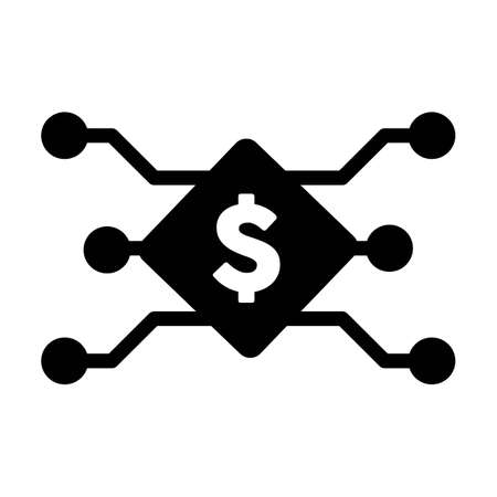 Digital dollar symbol icon vector currency for digital transactions for asset and wallet in a flat color glyph pictogram illustration