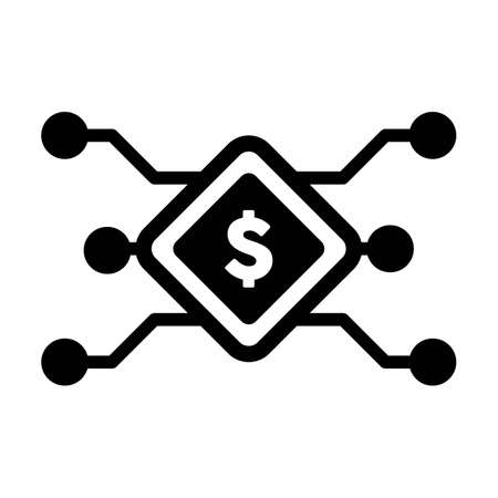 Digital dollar sign icon vector currency symbol for digital transactions for asset and wallet in a flat color glyph pictogram illustration