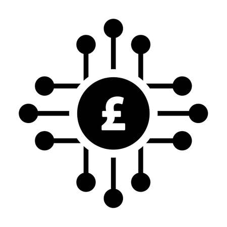 Digital pound coin icon vector currency symbol for digital transactions for asset and wallet in a flat color glyph pictogram illustration Vecteurs