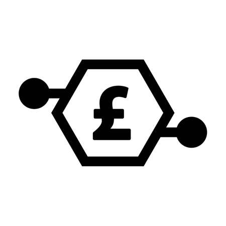 Digital pound icon vector currency symbol for digital transactions for asset and wallet in a flat color glyph pictogram illustration Иллюстрация
