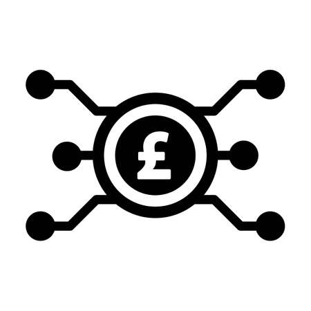 Digital pound coin icon vector currency symbol for digital transactions for asset and wallet in a flat color glyph pictogram illustration
