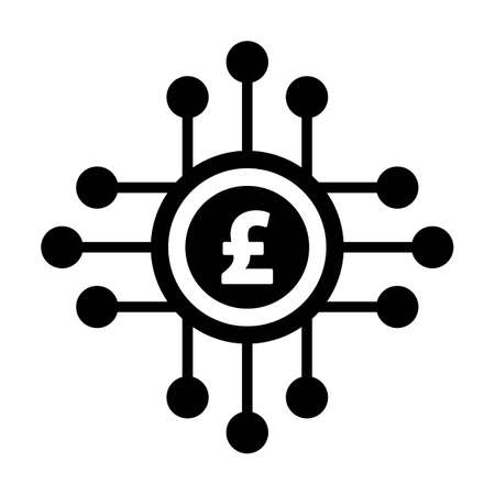 Digital pound currency icon vector symbol for digital transactions for asset and wallet in a flat color glyph pictogram illustration Иллюстрация