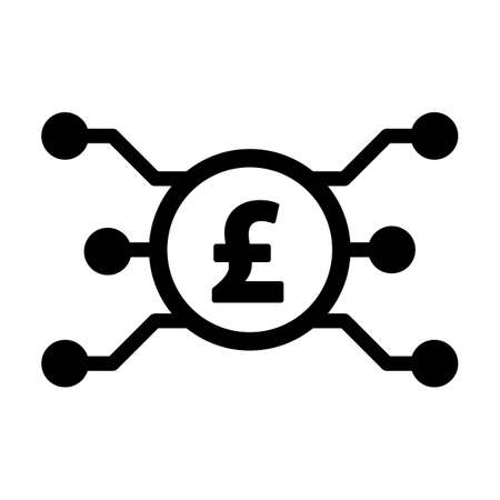Digital pound sign icon vector currency symbol for digital transactions for asset and wallet in a flat color glyph pictogram illustration