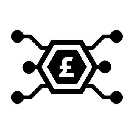 Digital pound symbol icon vector currency for digital transactions for asset and wallet in a flat color glyph pictogram illustration
